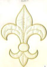 SCA White Satin Metallic Gold Fleur De Lys Lis Embroidery Patch