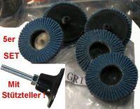5x ROLOC™ Fächer-Schleifscheiben 50 mm Zirkon-Korund K40 Flap Disc + Stützteller