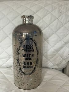Vintage Décor Mercury Glass Apothecary Bottle Decanter Bless This House Saying