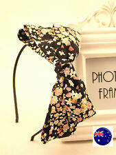 Women Girls Lady Flower Black big BOW Knot Ribbon Hair Head Band Hoop Headband