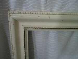 """Vintage Mid Century Modern Rope Design White wood picture frame fits 22""""x18"""""""