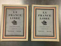 2 Issues of La France Libre Magazine, 1941 Vintage French Magazine
