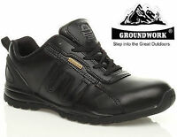 MENS GROUNDWORK LEATHER LIGHTWEIGHT SAFETY STEEL TOE CAP WORK TRAINERS BOOTS SZ