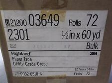 "NEW 3M Highland Paper Tape Utility Grade Crepe 1/2"" x 60 yard Case Of 72 Rolls"