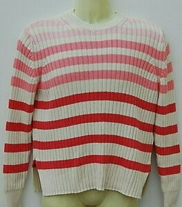 Ladies Marks and Spencer Ribbed Jumper Sweater Size 12 Red Mix Stay new Cotton