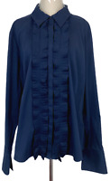 Gordon Smith Womens Navy Long Sleeve Ruffle Front Button Up Blouse Size 18