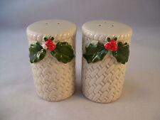 Otagiri Stoneware Japan Christmas Basket Weave Salt & Pepper Set Vintage Holly