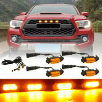 TRD off-road Including SR5 Limited White Shell TRO Pro Seven Sparta 4 PCS Led White Lights with Fuse and Instruction for 2014-2019 Toyota 4Runner TRD Pro Grille