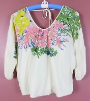 TB08443-TIBI Women's 100% Silk Blouse Split Back 3/4 Sleeve Multicolor Floral XS