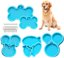 5 Pieces Dog Bone Shaped Tag Molds For Resin,Cat Tag Keychain Silicone Resin Mol