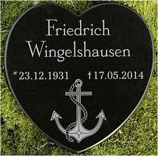 Gedenkstein Grabschmuck Grabherz Anker Marmor mit Wunschgravur 12,5 cm