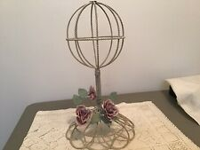 New listing Vintage Shabby Chic Twisted Wire Off-White Hat Stand With Metal Roses Decor