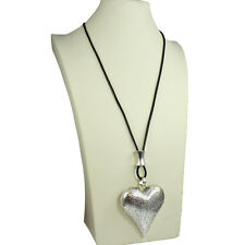 Burnished silver chunky textured large heart pendant leather cord long necklace