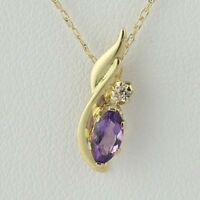 "New Amethyst Pendant Necklace - 10k Yellow Gold CZ 18"" 0.16ctw"