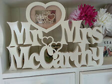 Personalised Wedding Gift Heart Frame Mr&Mrs Picture Engraved Photo Wood Name  L
