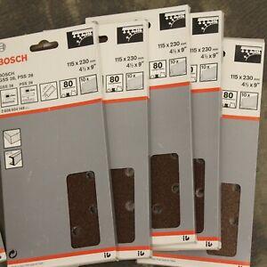 50 Bosch 115mm x 230mm 80G Quick Fit Sanding Sheets 1/2 Sanders. 2608604149