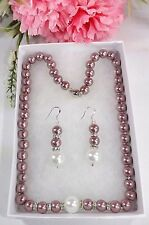 Sea Shell Pearl  8-12MM Necklace & Earrings Lavender & White Gift Box