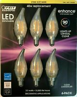 Feit Electric 6 pack LED Dimmable Clear Chandelier E12 Bulbs 3.3 w, NEW O/B