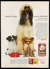 1959 Afghan Hound and mutt photo Friskies dog food vintage print ad