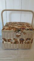 Sewing Quilting Basket Box Woven Wicker Teddy Bears Brown 10 x 10 x 7 1/2 Handle