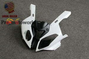 Injection White Front Upper Head Cowl Set Fairing Nose For BMW S1000RR 2009-2014