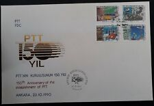 1990 Turkey 150th Anniv of Postal Ministry FDC ties 4 stamps canc Ankara