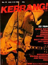 ZZ Top on Kerrang Magazine Cover 1982 No: 19   Billy Squier   Brian May of Queen