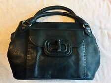 Elie Tahari Embroidered Pocket Textured Leather Bag Purse With Silver Hardware