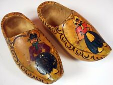 Vintage Hand Painted & Carved Wood Clogs From Holland Man & Woman. Free Shipping