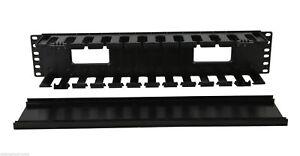 "2U Horizontal Rack Mount Cable Management Unit with Panel Plastic 19"""