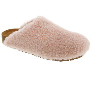 New Women's Shearling Fleece Faux Fur Cozy Slide Slip On Slipper Clog Sandal