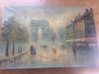 Original Signed French Oil Painting Canvas Champs Elysees Arc De Triomphe Paris