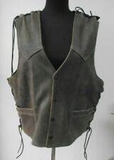 Distressed Brown leather Biker side lacing waistcoat size M