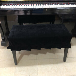 Pleuche Piano Stool Bench Cover Rectangle Chair Dust Sleeve Black 2-Seater