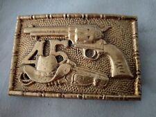 BOUCLE CEINTURE BARON BUCKLES 1981 BRONZE WESTERN GUN PISTOLET 45 TRES BON ETAT