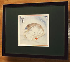 Ida Bohatta - Bear napping - 20''x16'' frame, bear print, cute bear wall art