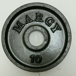 One 10 Pound Marcy Silver Cast Iron Weight Plate. 10 Pounds Total.