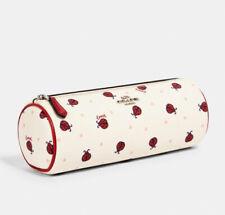 NEW Coach Women's Makeup Brush Holder Ladybug Print Chalk / Red $128