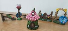 Set of 6 MINI Garden FAIRY Enchanted ; house, gate,swing, arch,well, sign, bath,