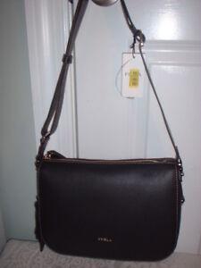 NWT Furla Onyx Black Emma Pebbled Leather Crossbody Shoulder Handbag Top Zip