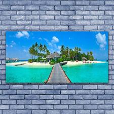 Print on Glass Wall art 140x70 Picture Image Beach Palm Trees Bridge Sea