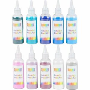 Colored Sand Bottles for Arts and Crafts, Cool Colors (0.33 lb, 10 Pack)