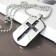 "Silver Black Army Military Dog Tag Cross Pendant 24"" 60cm Mens Chain Necklace"