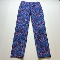 Boden Chelsea Turn Up Trouser Blue Pink Floral Straight Leg Sz 2 A2166