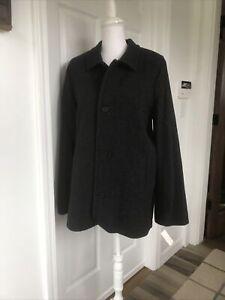 NWT Talbots Kids Boys Wool Charcoal Gray Herringbone Trench Coat Size:20