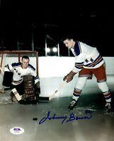 Johnny Bower autographed signed 8x10 photo NHL New York Rangers PSA COA