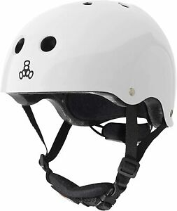 Triple Eight Lil 8 Dual Certified Youth Skateboard & Bike Helmet, White Glossy