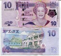 FIJI 10 DOLLARS ND 2007 P 111 a QE II UNC