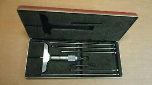 Vintage STARRETT No. 445 micrometer depth gauge set, estate
