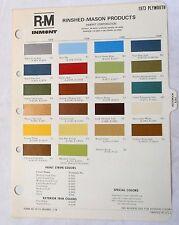 1973 PLYMOUTH R-M COLOR PAINT CHIP CHART ALL MODELS ORIGINAL MOPAR